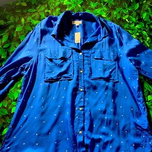 NWT Gap Royal Blue Star Button Down Sz XL